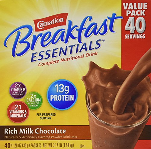 Carnation Breakfast Essentials 40-1.26oz Packets – Rich Milk Chocolate
