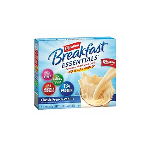 Carnation Breakfast Essentials Complete Nutritional Drink, No Sugar Added, Packets, Classic French Vanilla8 ea