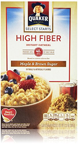 Quaker Oats High Fiber Instant Oatmeal, Maple Brown Sugar, 12.64 Ounce