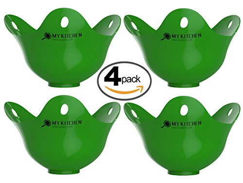 Egg Poacher Pack of 4 – Silicone Egg Poachers For Cooking Perfect Poached Eggs In Just Minutes! Replaces Your Egg Cooker / Egg Boiler / CookWare / Microwave Egg Cooker, Its a Must Have Kitchen Gadget