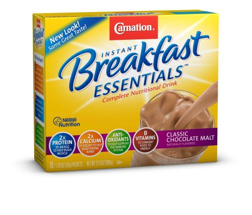 Carnation Instant Breakfast Essentials, Chocolate Malt Powder, 10 / 1.26 ounce packets (pack of 3).