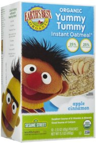 Earth's Best Sesame Street Yummy Tummy Instant Oatmeal – Apple & Cinnamon