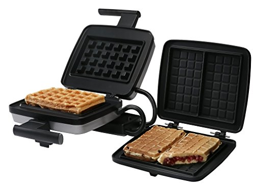 Croquade Traditional Single Thermostat Waffle Maker with Belgium Waffle Plate Installed & Stuffed Waffle Plate Included, Style Number U11001, Silver/Black