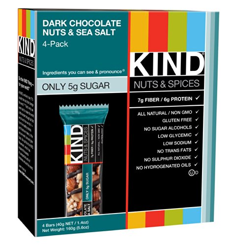 KIND Nuts & Spices Bars, Dark Chocolate Nuts & Sea Salt, 1.4 Ounce, 4 Count