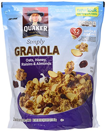 Quaker Natural Granola Oats, Honey, Raisins and Almonds – Two 34.5oz Bags