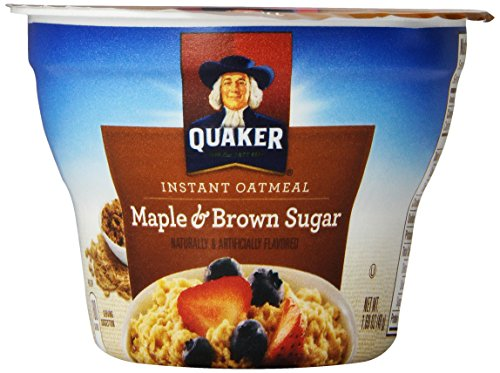 Quaker Instant Oatmeal Express Maple Brown Sugar, 1.69-Ounce Cups (Pack of 12), Packaging May Vary
