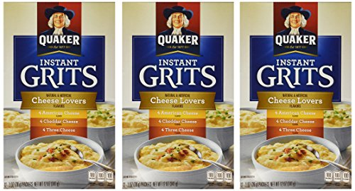 Quaker, Instant Grits Variety Pack, Cheese Lover's, 12oz Box (Pack of 3)