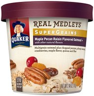 Quaker Real Medleys Super Grains Oatmeal+, Maple Pecan Raisin, Instant Oatmeal Breakfast Cereal (Pack of 12)