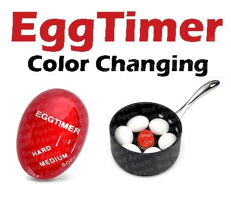 Red Apple Heat Sensitive Hard & Soft Boiled Egg Timer Color Changing Indicator Tells When Eggs Are Ready – Watch Color Change For SOFT MEDIUM Or HARD BOILED – Super-Reliable Kitchen Tool -Gift