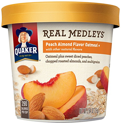 Quaker Real Medleys Oatmeal+, Peach Almond, Instant Oatmeal Breakfast Cereal  (Pack of 12)