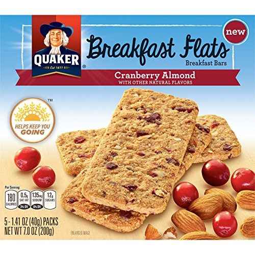 Quaker Breakfast Flats, Cranberry Almond, Breakfast Bars (Pack of 8)