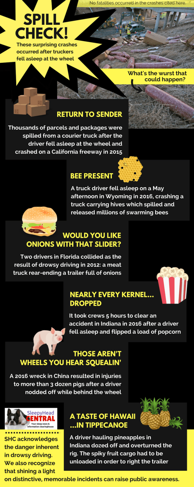 drowsy driving crashes and bizarre spills raise awareness of falling asleep at the wheel