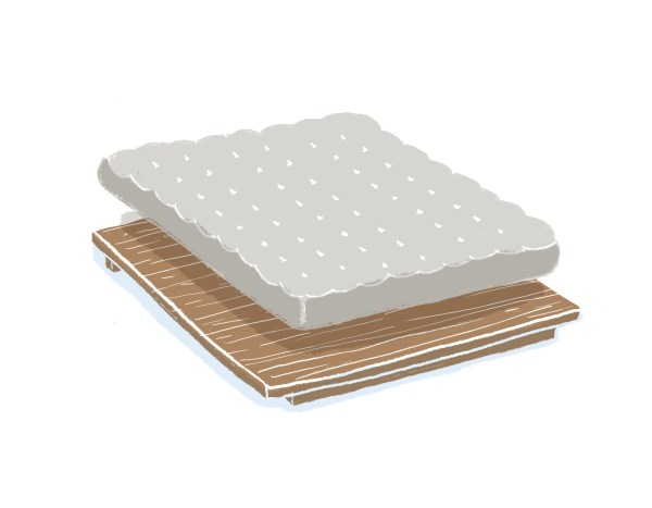 芝麻豆腐胡桃木床架+床墊組合(無床頭板)|標準雙人