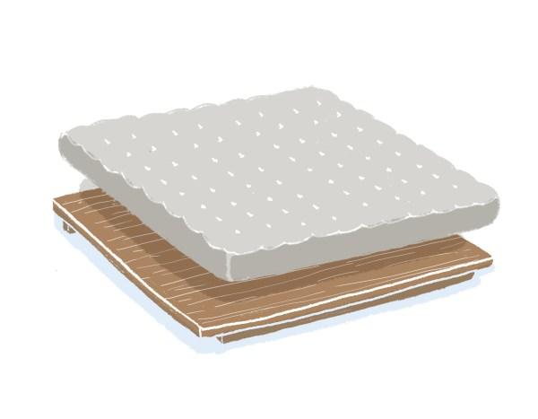 芝麻豆腐胡桃木床架+床墊組合(無床頭板)|雙人加大