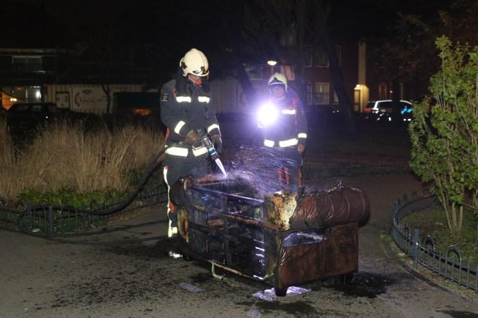 Wederom bankstel volledig in brand, Kooipark in Leiden