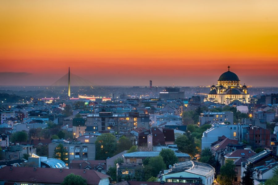 Belgrade skyline with view of Saint Sava temple