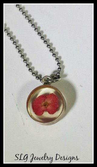 silver resin flower necklace--4
