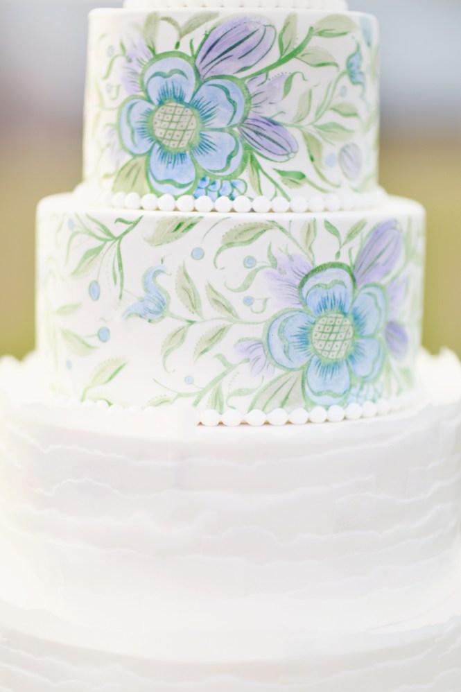 Hand Painted Wedding cake, Wafer paper ruffles, Wafer paper flowers, Wedding cakes, Floral Wedding cake