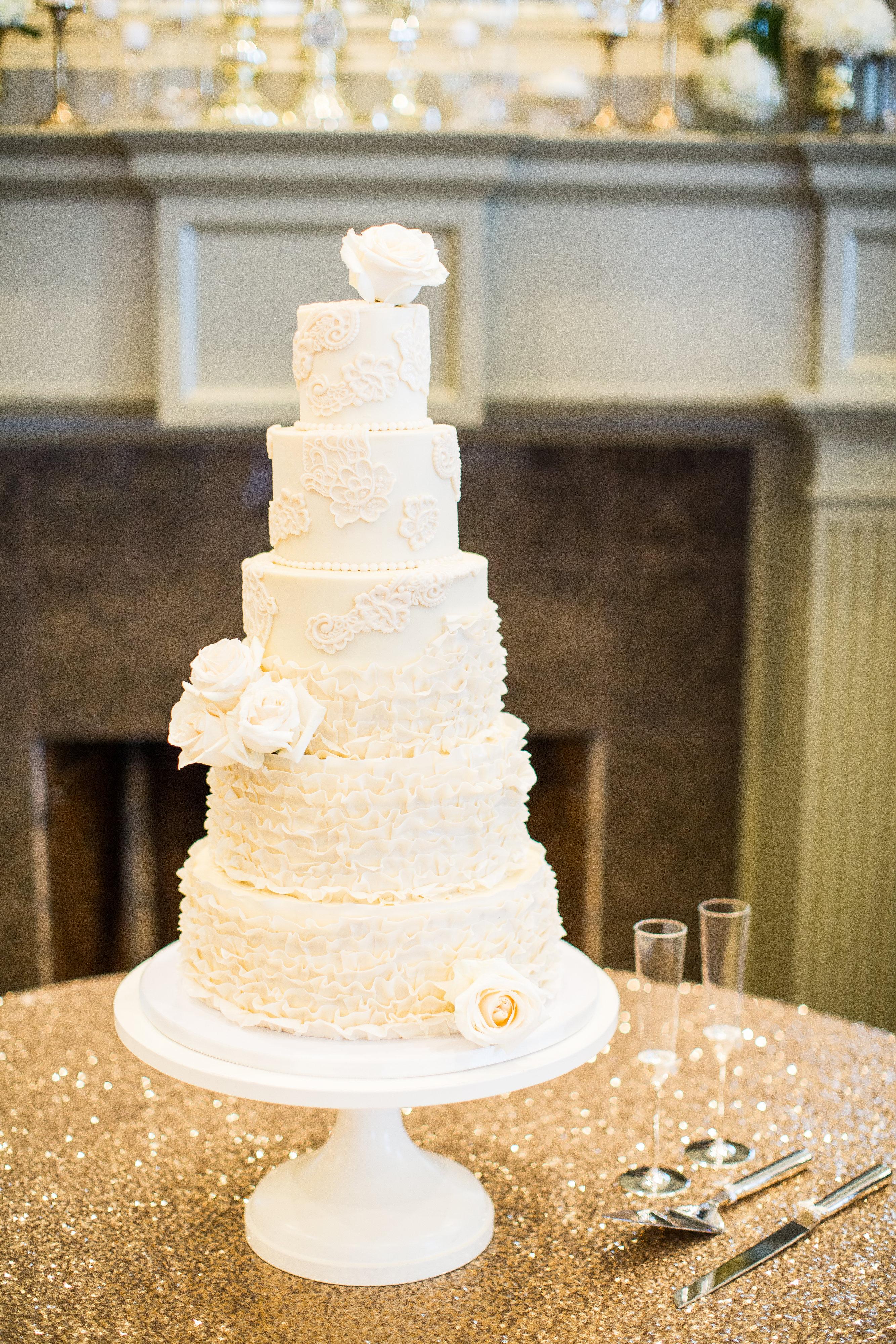 Buttercream and fondant ruffle wedding cake, buttercream wedding cake, fondant ruffles, fondant buttons, gold and ivory, fondant lace