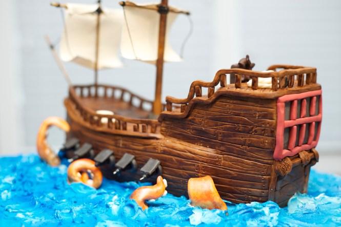 Pirate Ship cake, fondant kraken, fondant ship
