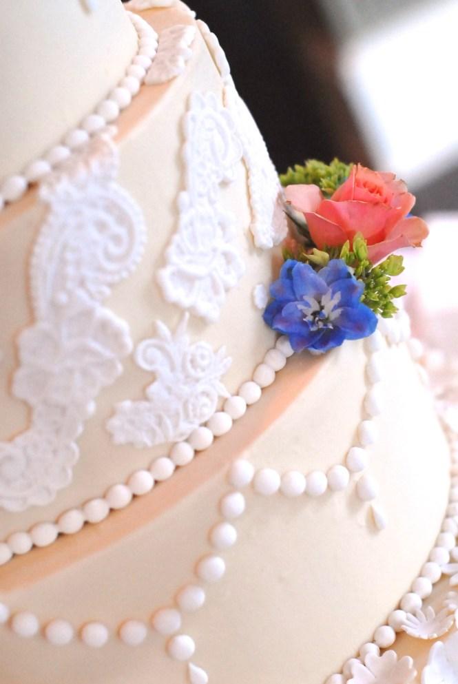 Buttercream and fondant lace wedding cake, fondant pearls, ivory and white wedding cake, buttercream wedding cake