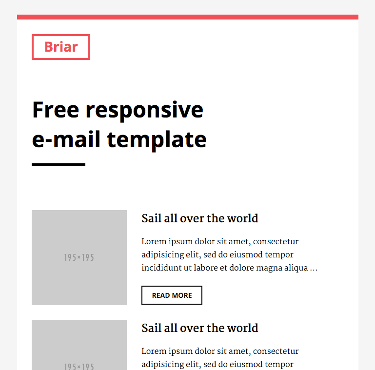 Free Responsive Email Template Briar Slicejack - Responsive email template github