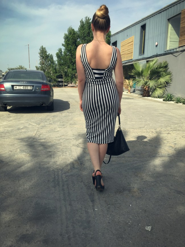 Anna Lazareva in Striped monochrome look