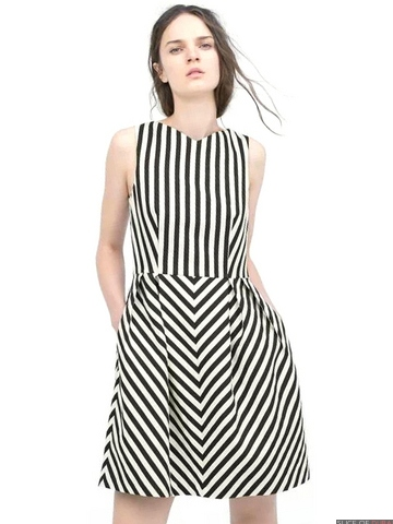 Striped monochrome dress