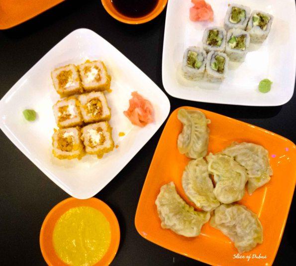 Sushi and Momos spread at Moshi