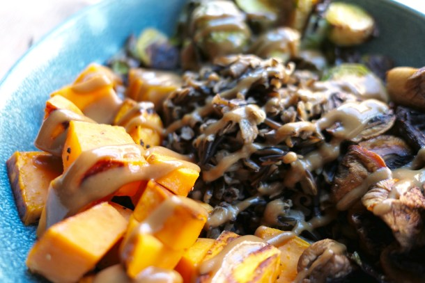 Wild Rice Bowl With Tahini Sauce - Slice of Honey Blog