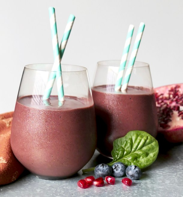 Pomegranate Blueberry Smoothie - Slice Of Honey Blog