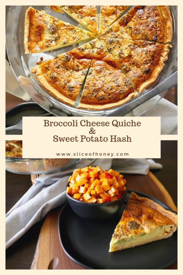 Broccoli Cheese Quiche & Sweet Potato Hash - Slice Of Honey