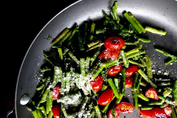 Sauteed asparagus and tomatoes with parmesan.