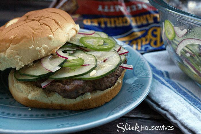 Jalapeno Relish Burger Recipe via slickhousewives.com