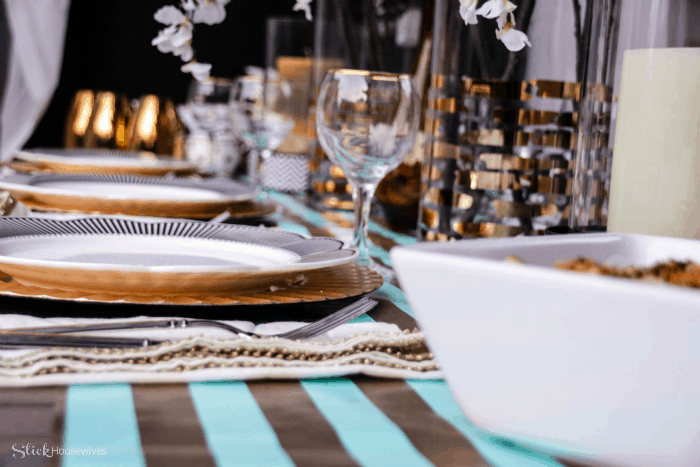 Black, Gold and Teal Christmas Tablescape-12