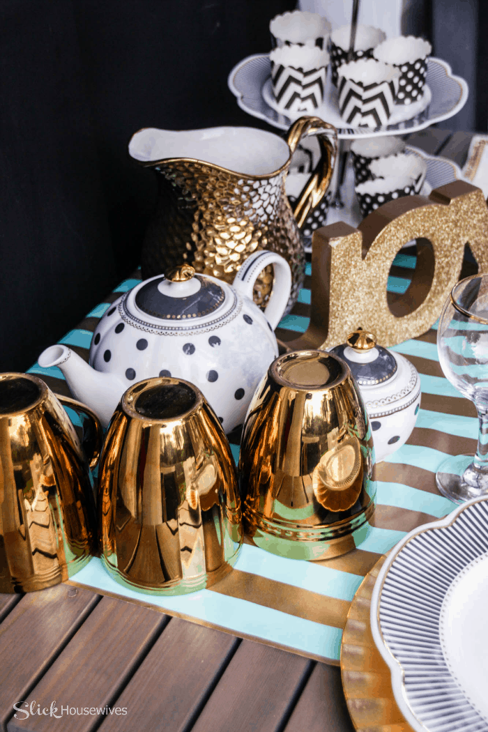 Black, Gold and Teal Christmas Tablescape-7