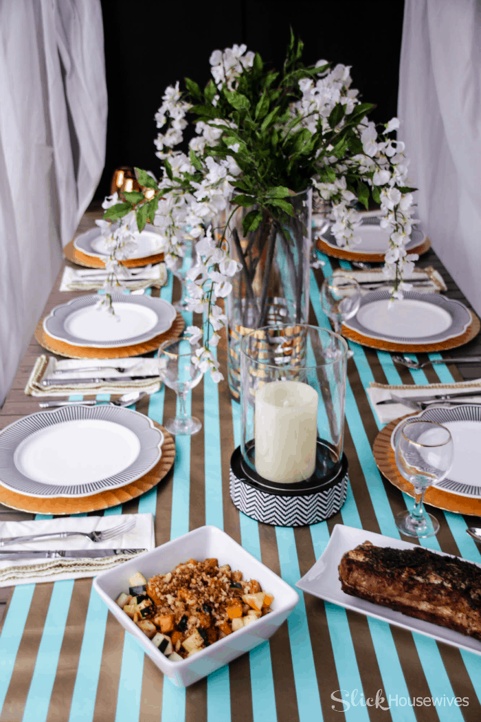 Black, Gold and Teal Christmas Tablescape-6