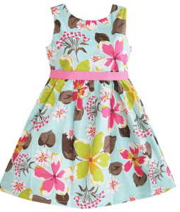 Sunny Fashion Girls Dress With Blue Flower Print