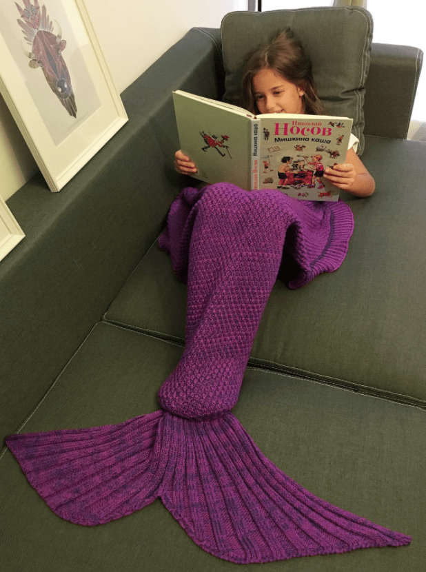 Knitted Mermaid Tail Design Blanket deal
