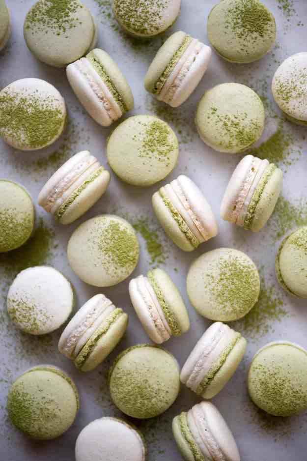 Matcha Coconut Strawberry Macarons