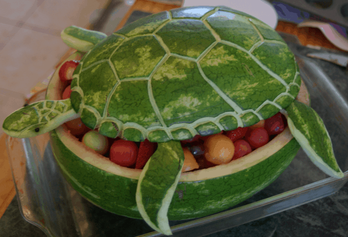 Watermelon Sea Turtle Carving