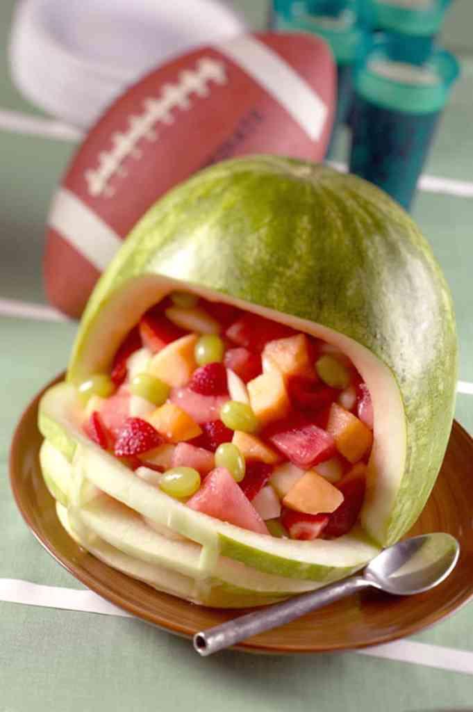 Football Helmet Watermelon Carving