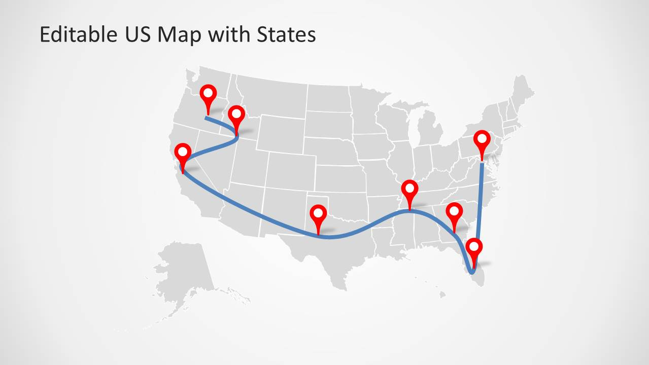 Powerpoint Us Map Template Editable Map Of United States With Map - Us-map-template-for-powerpoint-with-editable-states