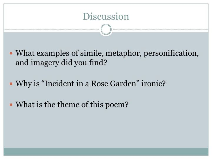 What Does The Poem Incident In A Rose Garden Mean Poemview