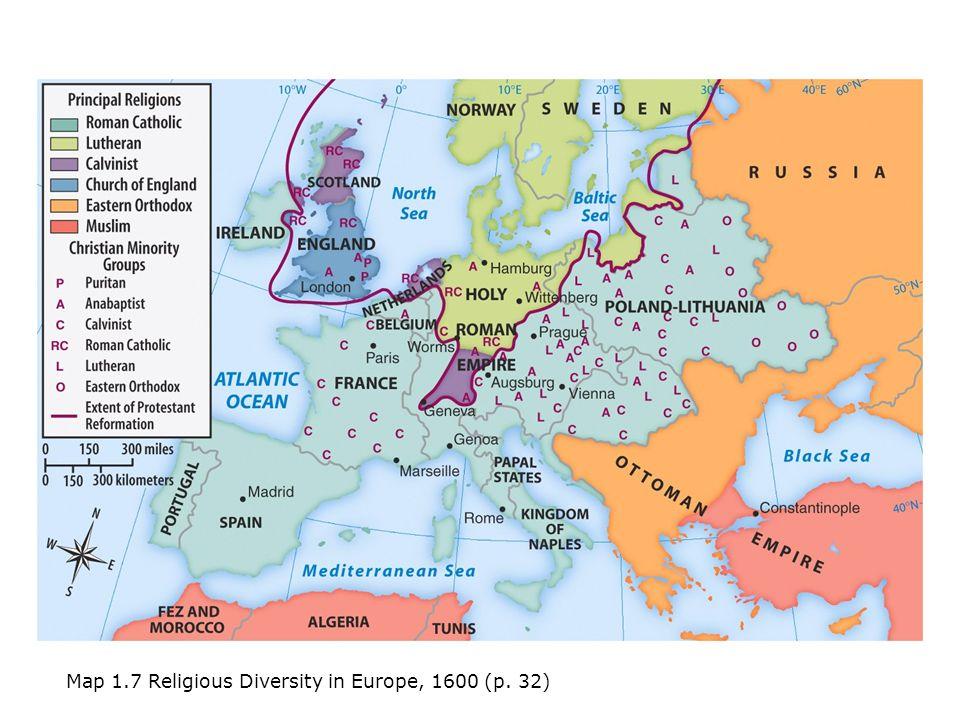 Religious Europe Map 1600