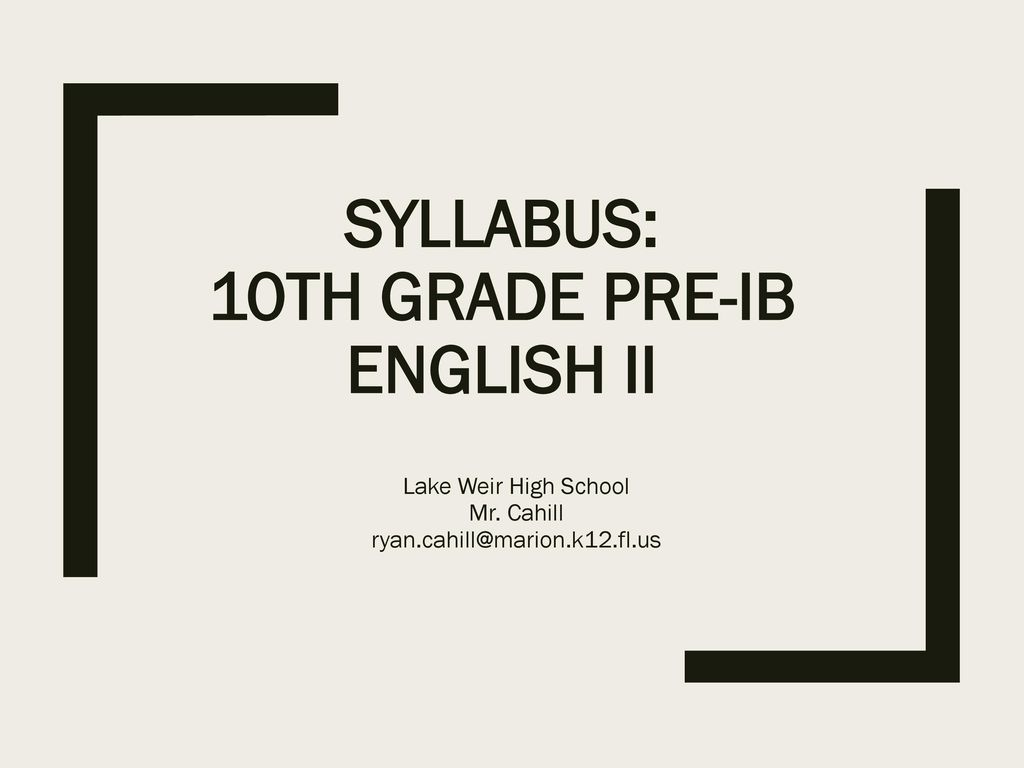 Syllabus 10th Grade Pre Ib English Ii
