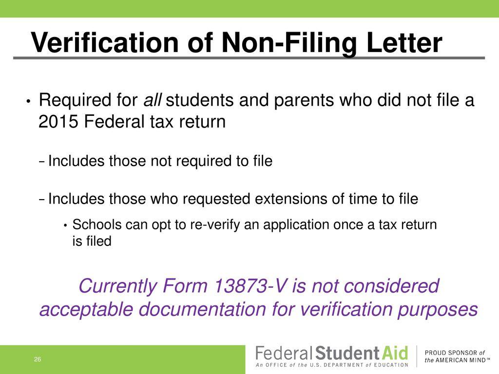 Verification Of Non Filing Letter