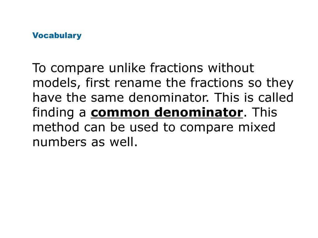 Mixed Numbers Improper Fractions Comparing And Ordering Fractions