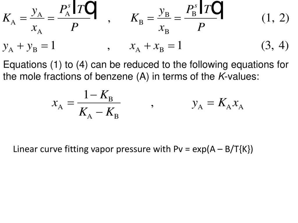 Distillation Vapor Liquid Equilibrium Relations