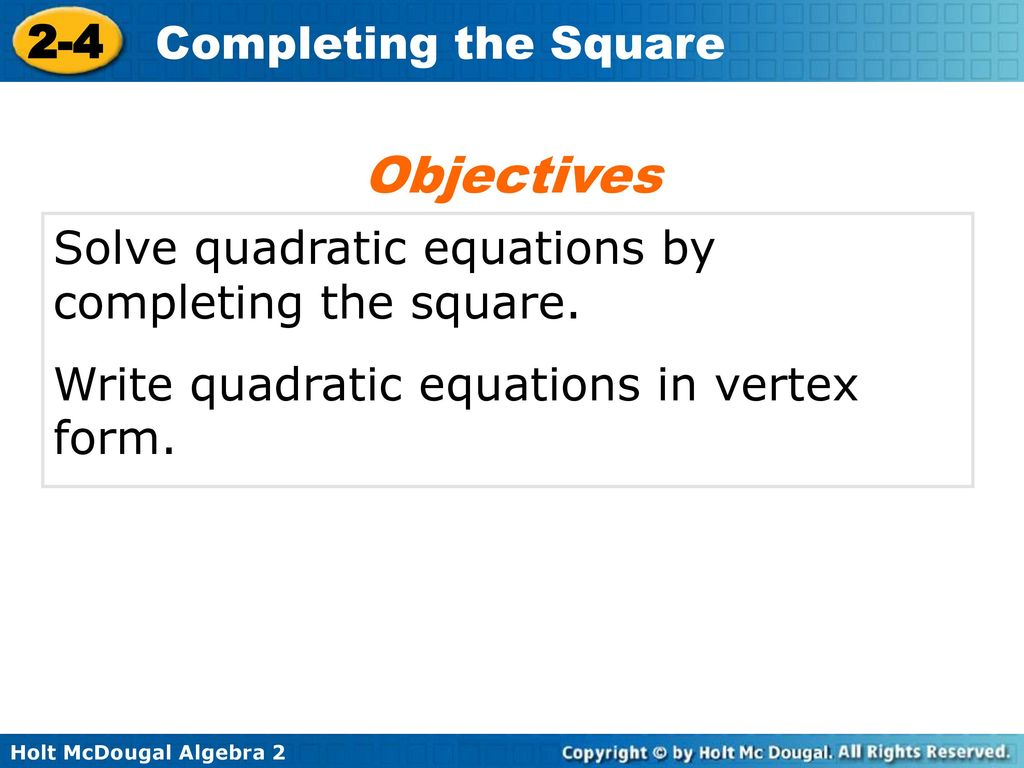 2 4 Completing The Square Warm Up Lesson Presentation